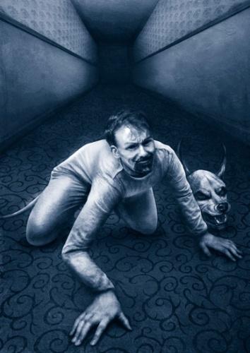 man in dog costume_duotone